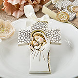 Religious Madonna and Child hanging cross ornament