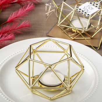 Gold Hexagon Shaped Geometric Design Tea Light Votive