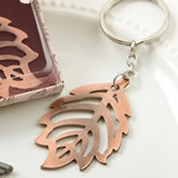 Copper color metal fall leaf design key chain from fashioncraft