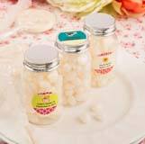 Personalized expressions collection white Jelly bean candy filled bottles with silver screw on top