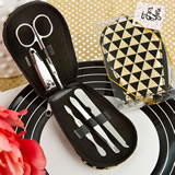 Modern Geometric design shiny black and gold manicure set