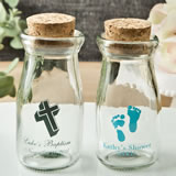 Baby Shower Design your own personalized vintage milk bottles with round cork top