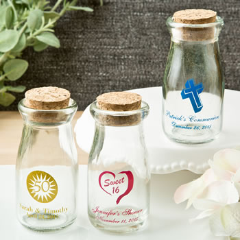 Design Your Own Personalized Vintage Milk Bottles With Round Cork