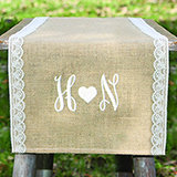 Thin Lace Embroidered Burlap Table Runner