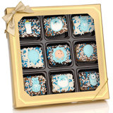 New Baby Boy Chocolate Dipped Mini Crispy Rice Bars- Window Gift Box of 9