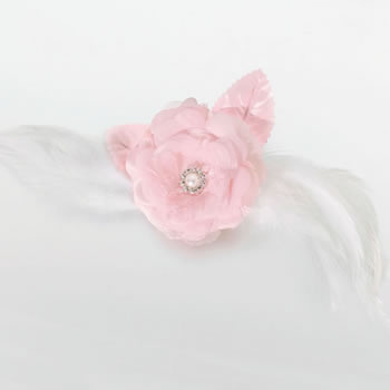 Lillian Rose Lace/Feather Hair Clip/Pin - Pink