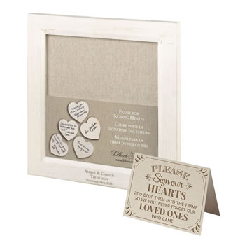 Lillian Rose Small Guest Signing Hearts Frame Personalized
