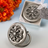 Heirloom styled compact mirror w/floral top broach design from our <i>Premier Favor Collection</i>