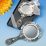 Heirloom styled solid pewter hand held mirror from the <i>Premier Favor Collection</i>