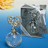 Solid glass crystal Perfume bottle with heart top from our <i>Premier Favor Collection</i>
