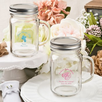 Screen printed personalized 12 ounce glass mason jar with silver metal screw top