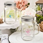 Screen printed personalized 16 ounce glass mason jar with silver metal screw top