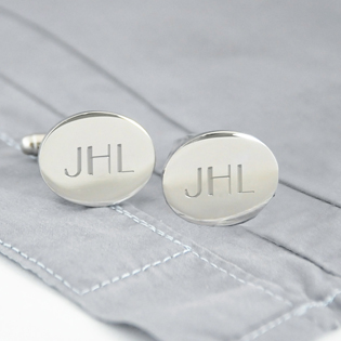 Silver Oval Cuff Links
