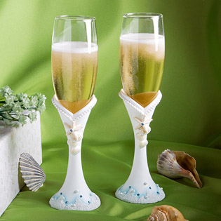 Finishing Touches  Collection Beach Themed Champagne Flutes