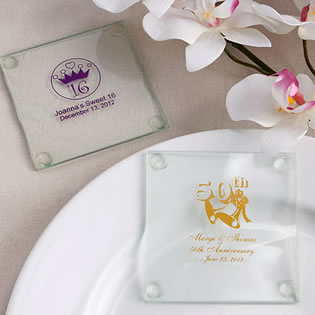 Personalized Anniversary Design Glass Coasters