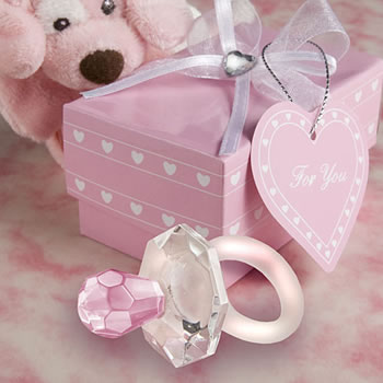 Choice Crystal Pink Pacifier Baby Shower Favors