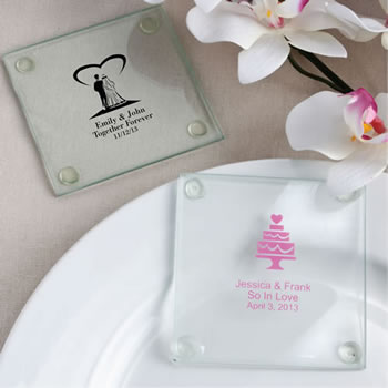 Personalized Wedding Design Glass Coasters