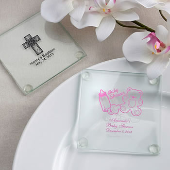 Personalized Baby Shower Design Glass Coasters