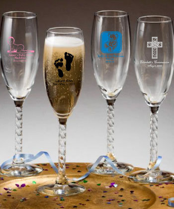 Personalized Champagne Flute Baby Shower  Designs