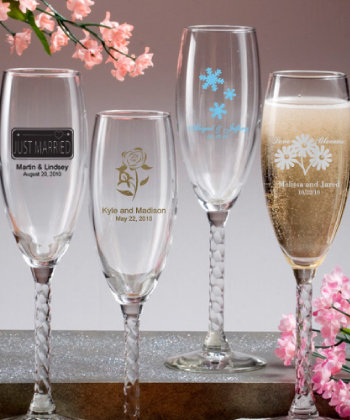Personalized Champagne Flutes With Twisted Stem Nice Price Favors