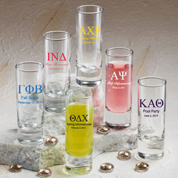 Personalized Shot Glasses - Greek Designs for Sororities and Fraternities 2oz