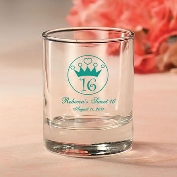 Personalized Sweet Sixteen Votive Favors or shot glasses 3.5 oz.