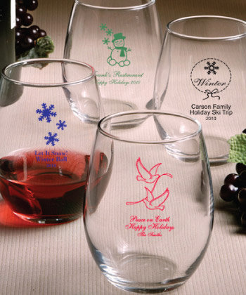 Holiday Personalized Stemless Wine Glasses - 9 Ounce