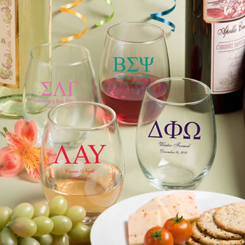 15 Ounce Stemless Wine Glasses: Greek Designs