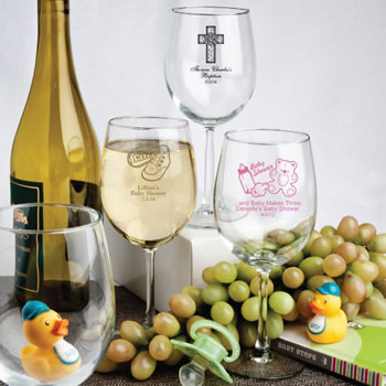 Personalized Baby Shower Themed Wine Goblets - 12 Oz.