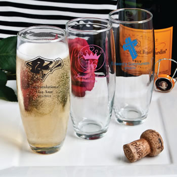 Personalized Stemless Champagne Flutes - Silkscreened