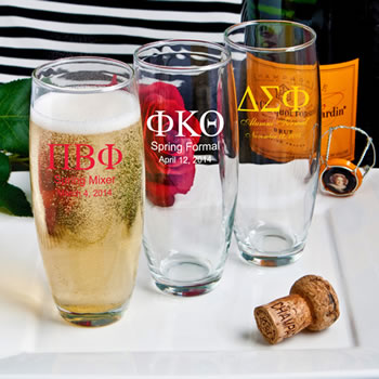 Personalized Stemless Champagne Flutes - Greek Designs - Silkscreened