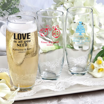 Personalized Stemless Champagne Flutes - Wedding Designs - Silkscreened