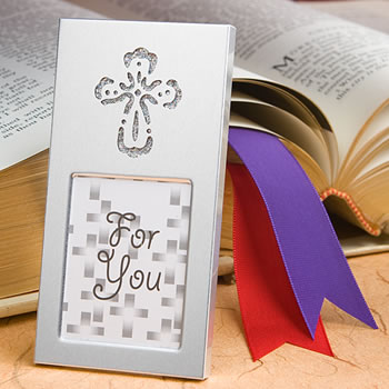 25 Regal Cross Place Card Photo Frames Communion Baptism Shower Party Gift Favor
