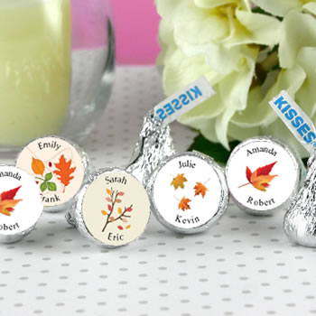 Fall Theme Hersheys Kiss Wedding Favors (4 designs available)