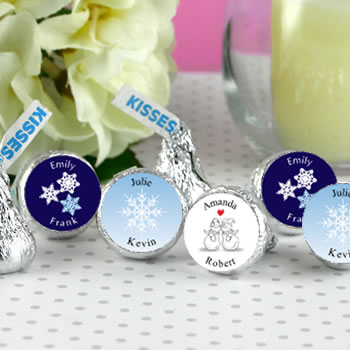 Winter Theme Hersheys Kiss Wedding Favors (5 designs available)