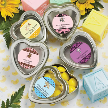 Baby Shower Personalized Expressions Collection Silver Heart Shaped Mint Tins