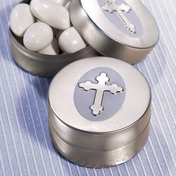 Silver Cross Design Baptism Mint Tin Favors