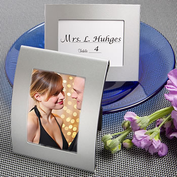 Matte Silver Metal Place Card/Photo Frames - Nice Price Favors