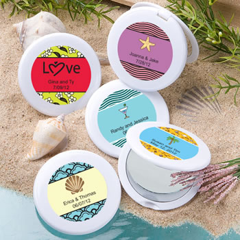 Beach Personalized Expressions Collection Mirror Compact Favors - Beach