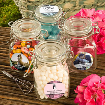 Personalized Apothecary Jar Favors - Wedding Designs