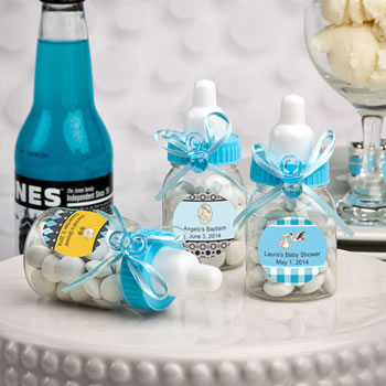 Design Your Own  Blue Baby Bottle Shower Favors