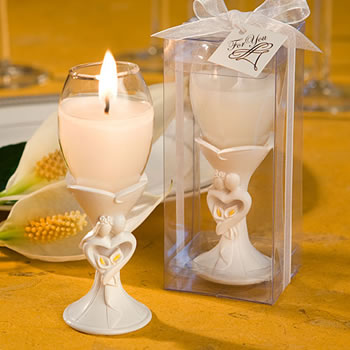 Stylish Bride And Groom Design Champagne Flute Candle
