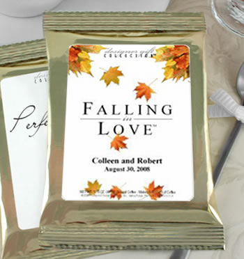 Personalized Fall Theme Coffee Favors, Gold Bag - (5 designs available)