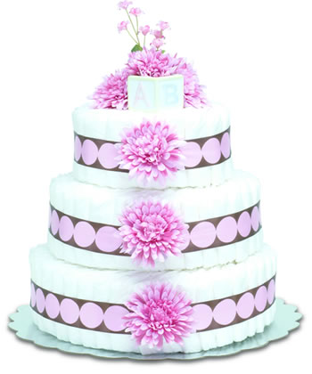 Baby Diaper Cake: Pink Mums (2 or 3 Tiers)