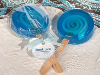Sweet treats blue lollipop soap favor.