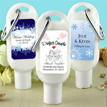 Sunscreen Favors with Carabiner (SPF 30): Winter Designs