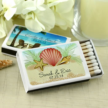 Personalized Matches - Beach Designs - Set of 50 (White Box)
