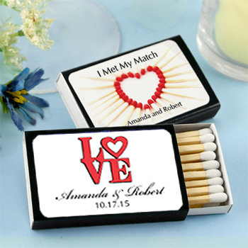 Personalized Matches - Set of 50 (Black Box): Heart Designs