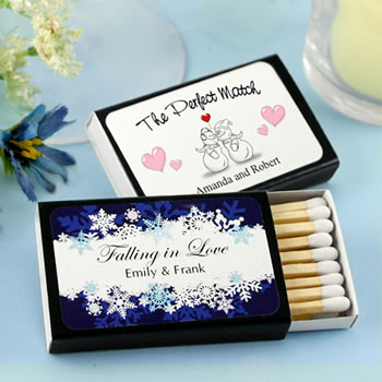Personalized Matches - Set of 50 (Black Box): Winter Designs
