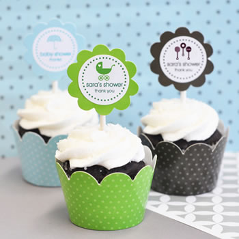 MOD Baby Silhouette Cupcake Wrappers & Cupcake Toppers (Set of 24)